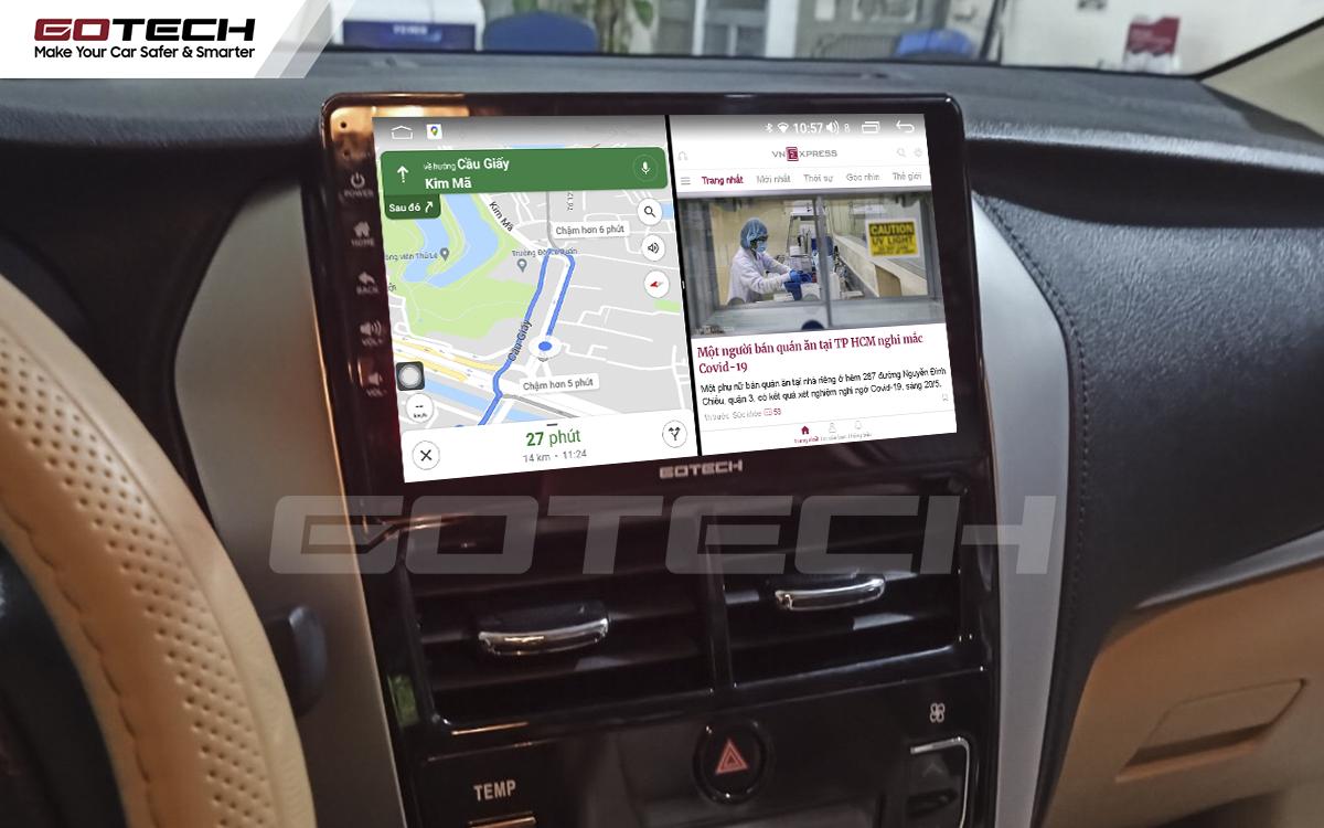 Chia đôi màn hình chạy đa nhiệm ứng dụng mượt mà trên màn hình ô tô GOTECH cho xe Vios G 2019 - 2020