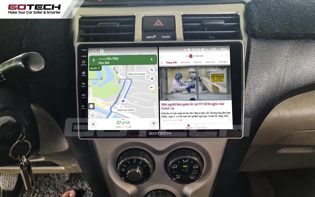 Chạy đa nhiệm ứng dụng mượt mà trên màn hình GOTECH cho xe Vios 2008 - 2013
