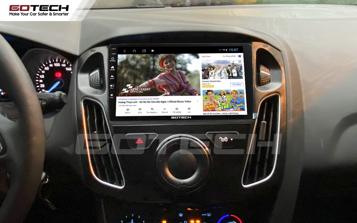 Nghe nhạc, xem phim, giải trí vô tận trên màn hình GOTECH cho xe Ford Focus 2014-2018