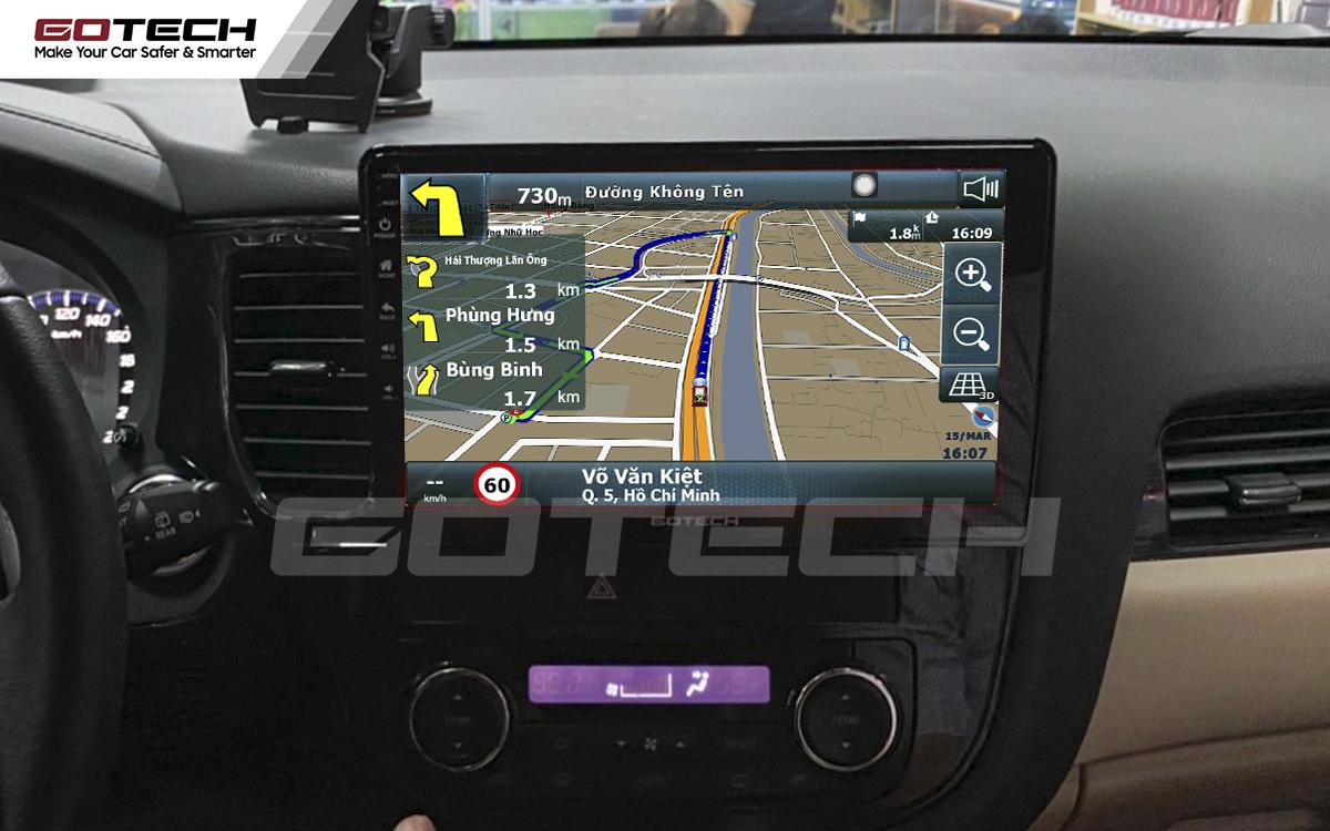 Phần mềm dẫn đường Vietmap trên màn hình ô tô thông minh Gotech hỗ trợ di chuyển nhanh, chính xác.