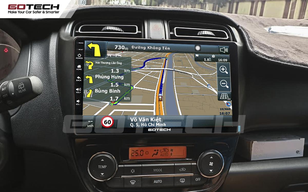 Tích hợp bản đồ dẫn đường trên màn hình ô tô thông minh Gotech cho xe Mitsubishi Mirage.