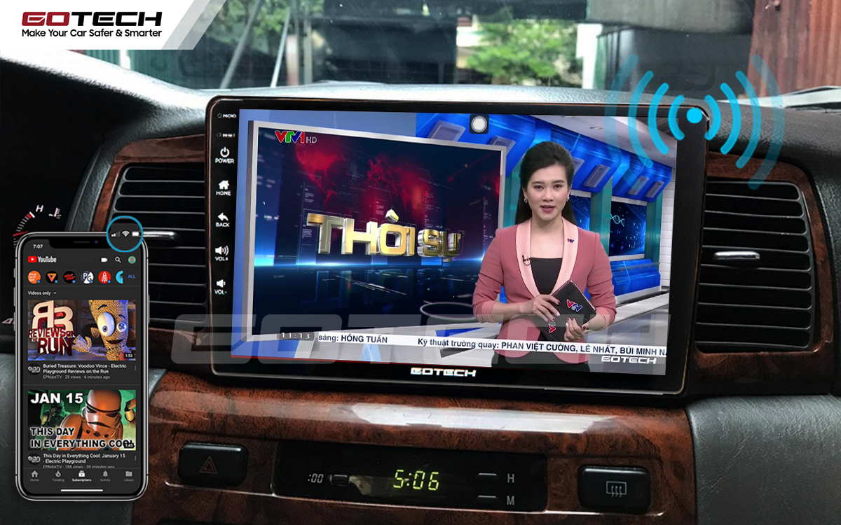 Phát wifi trên màn hình ô tô GOTECH cho xe Toyota Altis không cần ổ phát