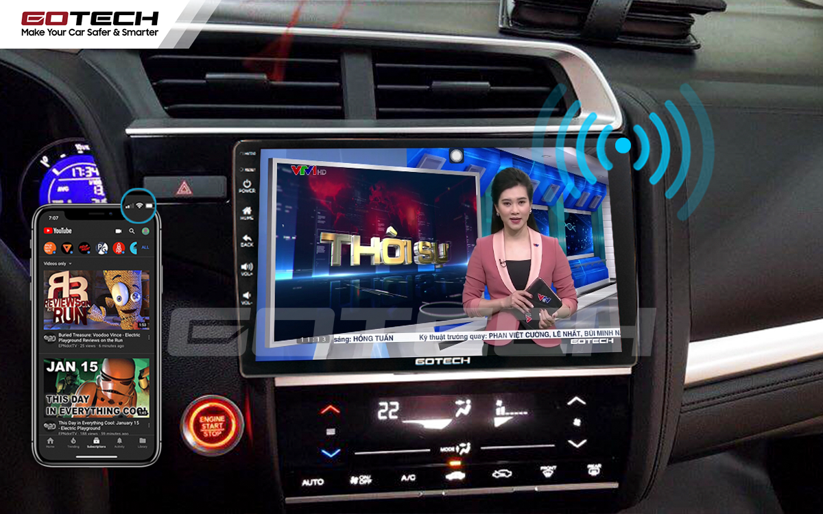 Phát wifi trực tiếp từ màn hình ô tô GOTECH cho các thiết bị khác