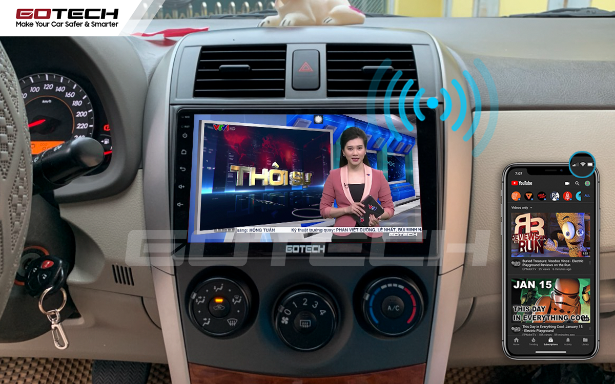 Phát wifi trên màn hình ô tô thông minh GOTECH cho xe Altis 2008 - 2013