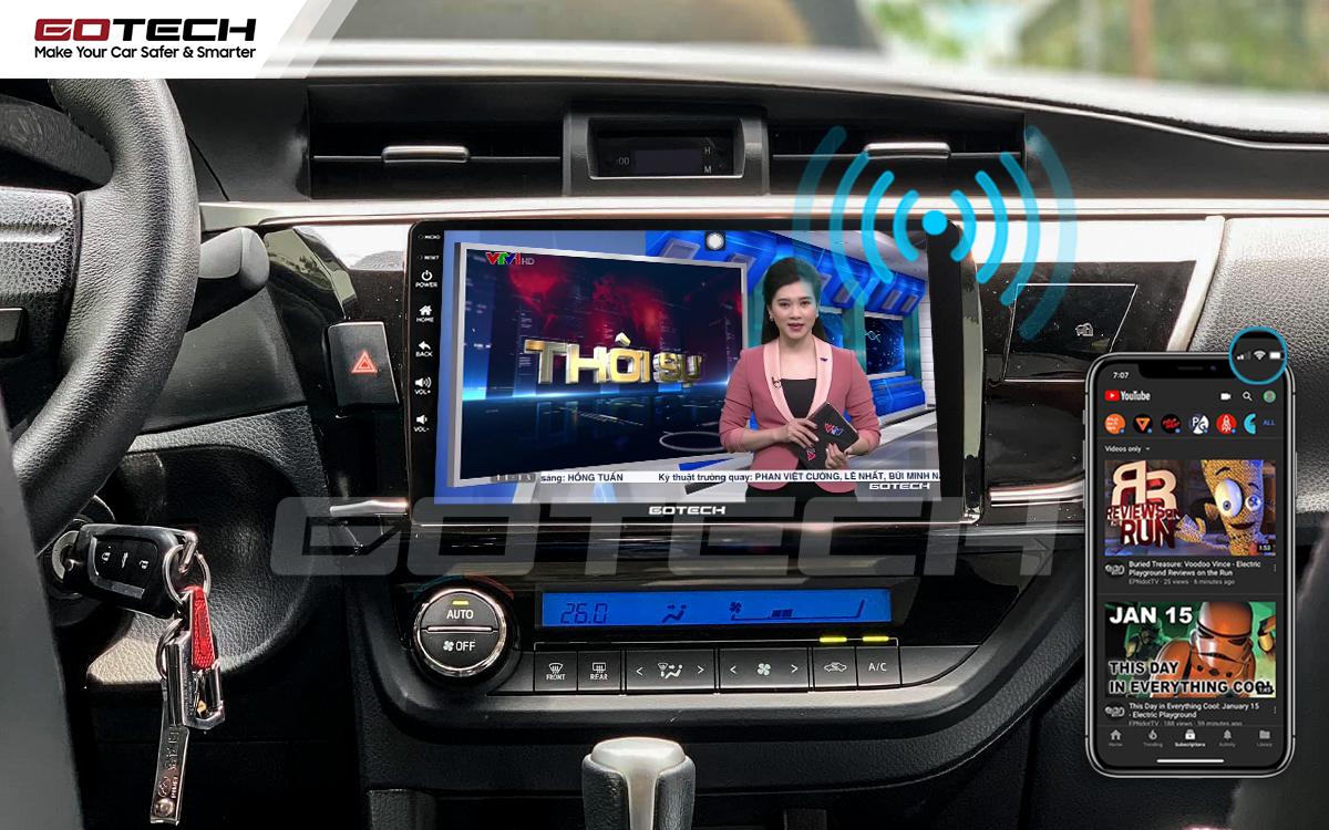 Phát wifi trực tiếp từ màn hình ô tô thông minh GOTECH lên xe Altis 2014 - 2017