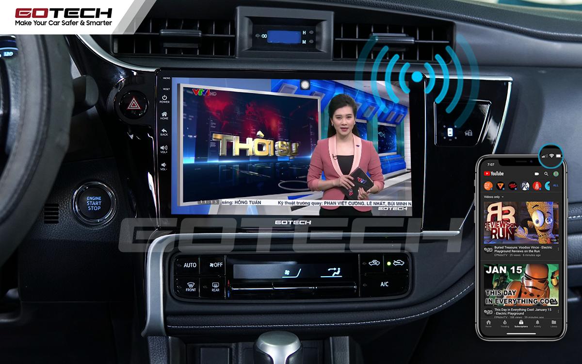 Phát wifi trực tiếp từ màn hình ô tô thông minh GOTECH lên xe Altis 2018 - 2019