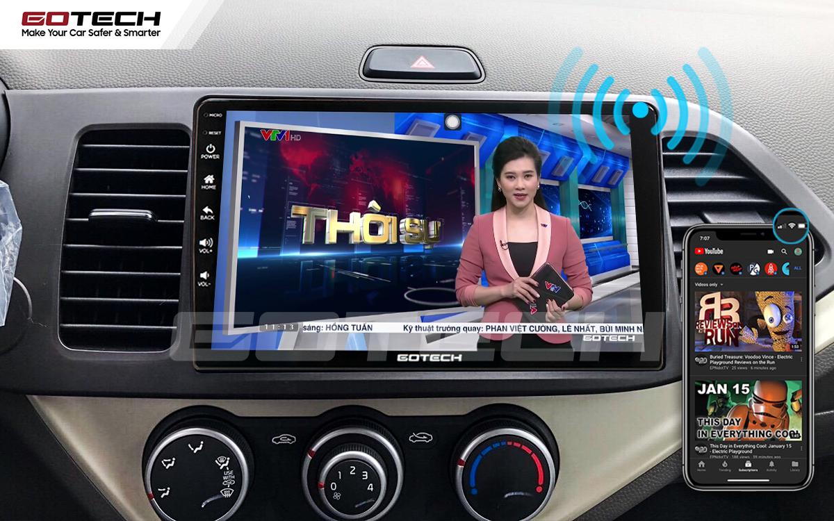 Màn hình GOTECH trực tiếp chia sẻ wifi cho các thiết bị khác trên xe không cần ổ phát