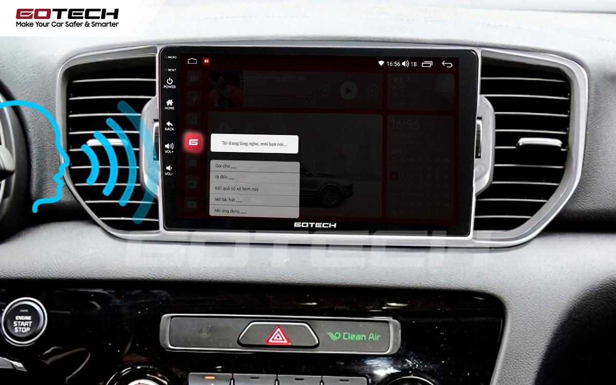 Ra lệnh giọng nói thông minh trên màn hình ô tô GOTECH cho xe Kia Sportage 2016 - 2018