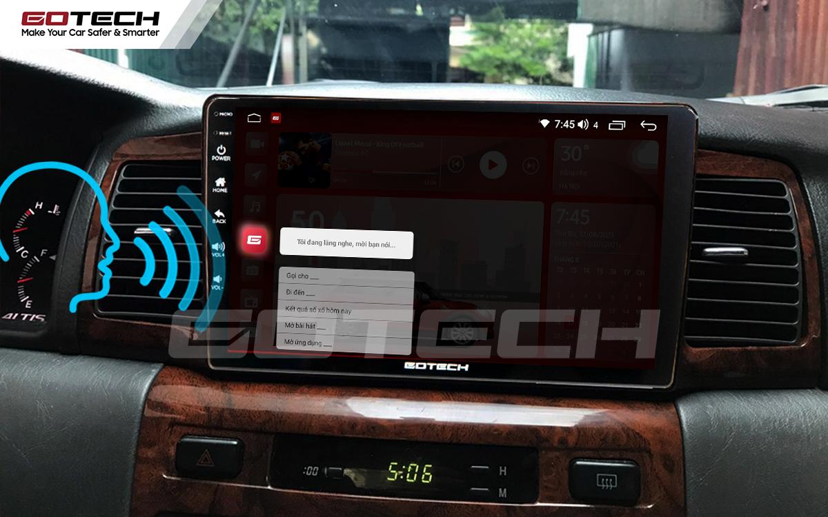 Ra lệnh giọng nói thông minh trên màn hình ô tô GOTECH cho xe Toyota Altis