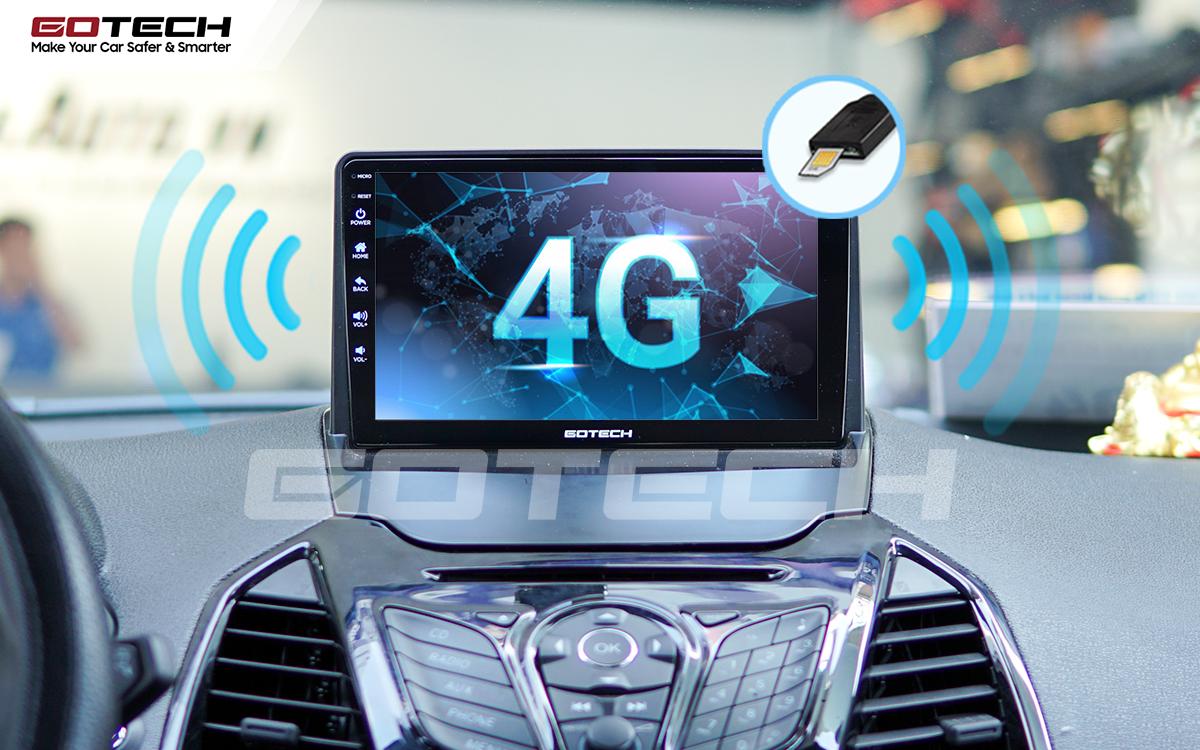 Sim 4G kết nối internet tốc độ cao trên màn hình ô tô GOTECH cho xe Ford Ecosport 2014-2017