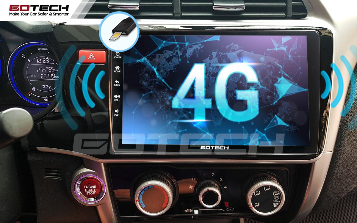 Sim 4G kết nối internet tốc độ cao trên màn hình ô tô GOTECH cho xe Honda City 2014-2020