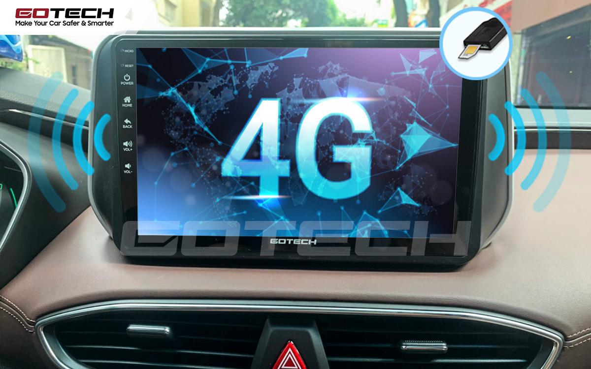Sim 4G kết nối internet tốc độ cao trên màn hình ô tô GOTECH cho xe Hyundai Santafe 2019-2020