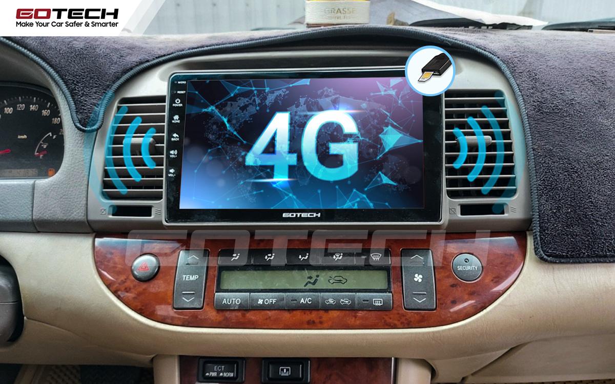 Sim 4G kết nối internet tốc độ cao trên màn hình ô tô GOTECH cho xe Toyota Camry 2003-2006