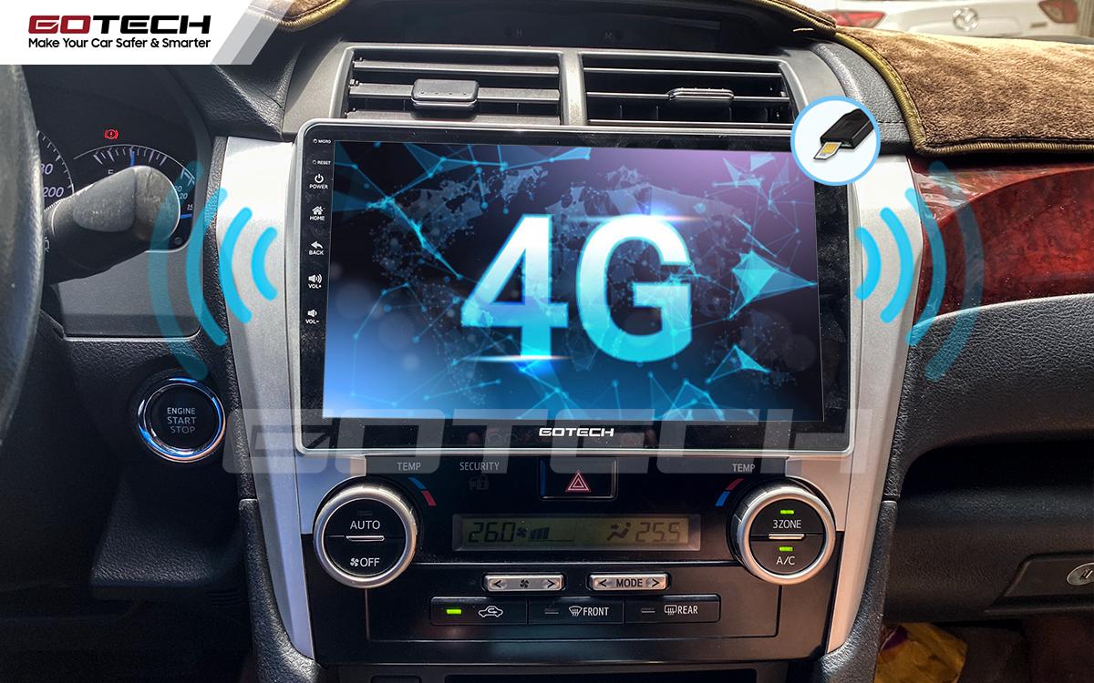 Sim 4G kết nối internet tốc độ cao trên màn hình ô tô GOTECH cho xe Toyota Camry 2013-2014
