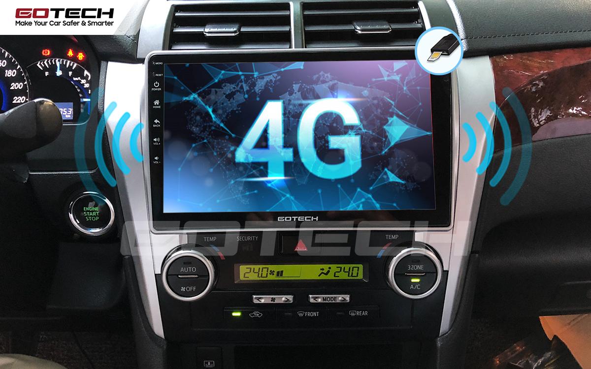 Sim 4G kết nối internet tốc độ cao trên màn hình ô tô GOTECH cho xe Toyota Camry 2015-2018