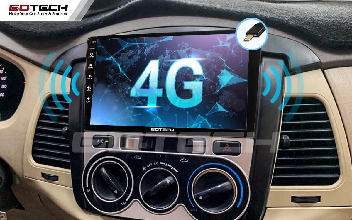 Tích hợp sim 4G kết nối internet tốc độ cao trên màn hình android Gotech cho xe Toyota Innova 2006-2011.
