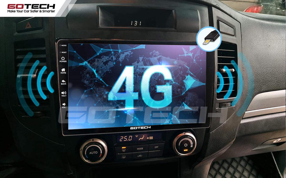 Màn hình Android Gotech cho xe Mitsubishi Pajero 2007-2012 trang bị sim 4G tốc độ cao.