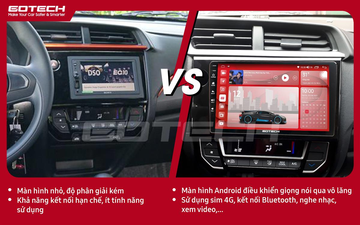 Hình ảnh so sánh trước và sau khi lắp đặt màn hình GOTECH cho xe Honda Brio