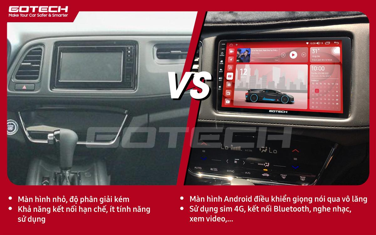 So sánh trước và sau khi lắp đặt màn hình ô tô thông minh GOTECH