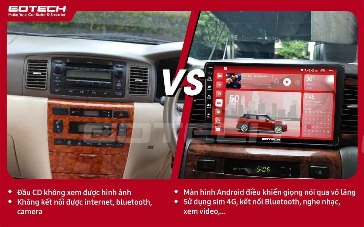 Hình ảnh trước và sau khi lắp đặt màn hình ô tô GOTECH cho xe Toyota Altis 2003 - 2007