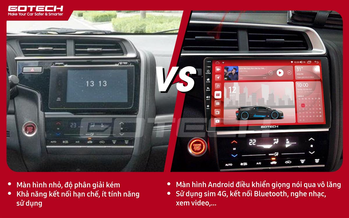 Hình ảnh so sánh trước và sau khi lắp đặt màn hình ô tô GOTECH cho xe Honda Jazz