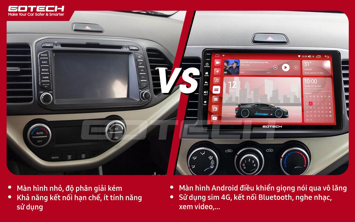 Hình ảnh trước và sau khi lắp đặt màn hình ô tô GOTECH cho xe Kia Morning