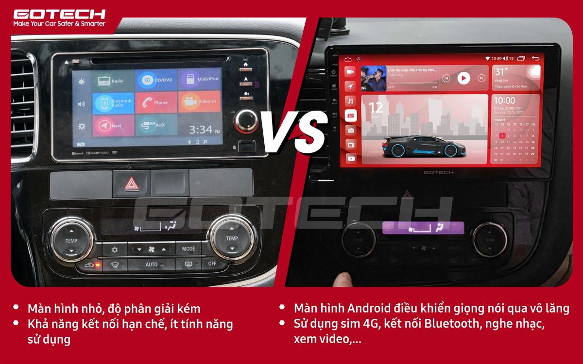 So sánh trước và sau khi lắp đặt màn hình ô tô Gotech cho xe Mitsubishi Outlander 2016-2019.