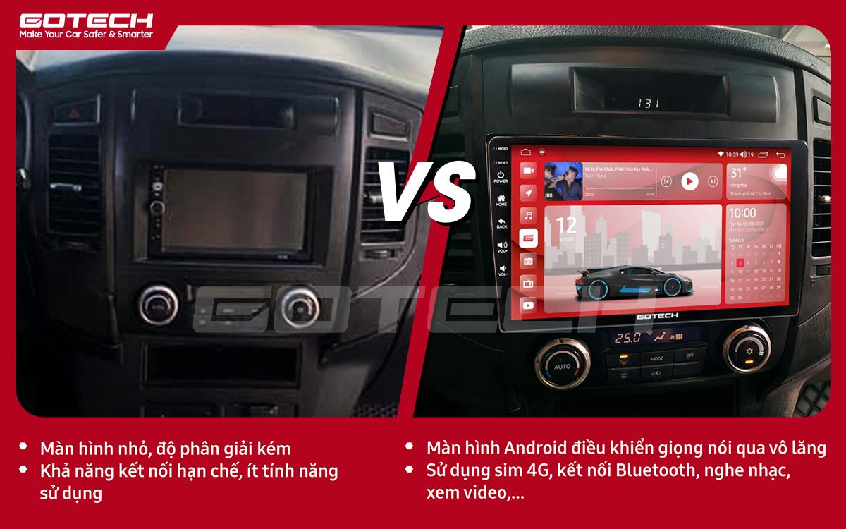 So sánh trước và sau khi lắp đặt màn hình ô tô Gotech cho xe Mitsubishi Pajero 2007-2012