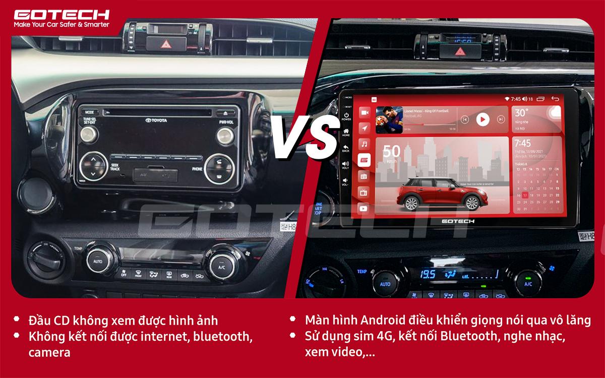 So sánh trước và sau khi lắp đặt màn hình ô tô Gotech cho xe Toyota Hilux 2016-2019.