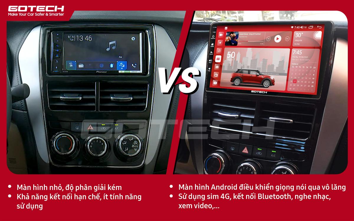 Hình ảnh trước và sau khi lắp đặt màn hình ô tô GOTECH cho xe Toyota Vios E 2019 - 2020