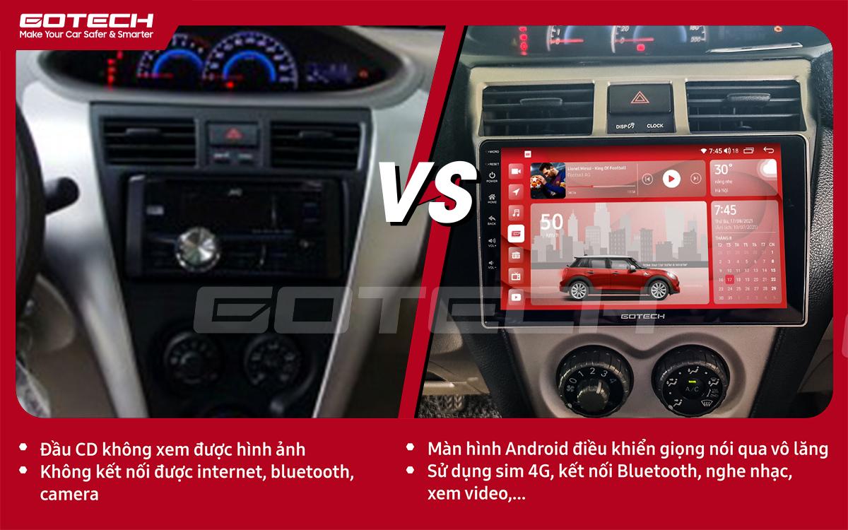 Hình ảnh trước và sau khi lắp đặt màn hình ô tô GOTECH cho xe Toyota Vios 2008 - 2013