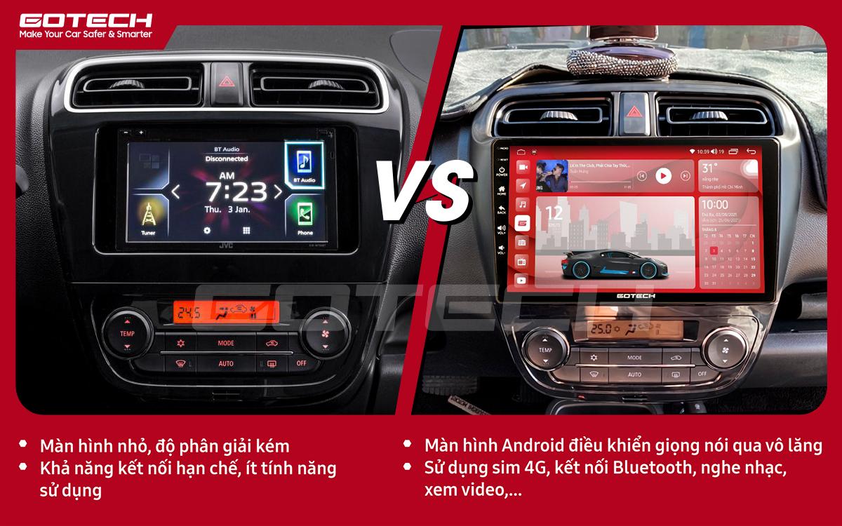 So sánh trước và sau khi lắp đặt màn hình ô tô Gotech cho xe Mitsubishi Attrage 2015-2020.
