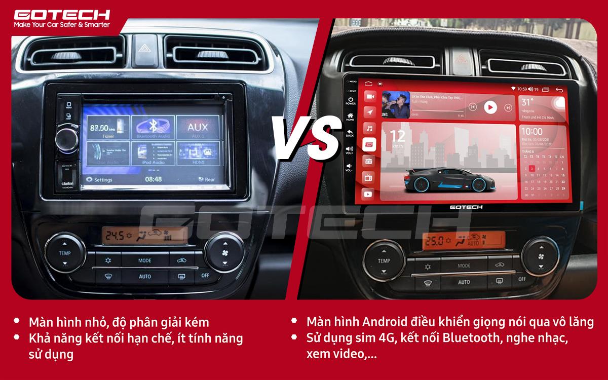 So sánh trước và sau khi lắp đặt màn hình ô tô Gotech cho xe Mitsubishi Mirage 2013-2019.