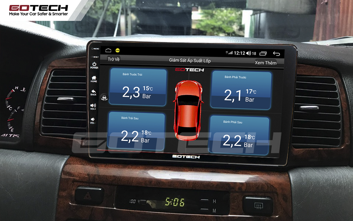 Tích hợp cảm biến áp suất lốp lên màn hình GOTECH cho xe Toyora Altis