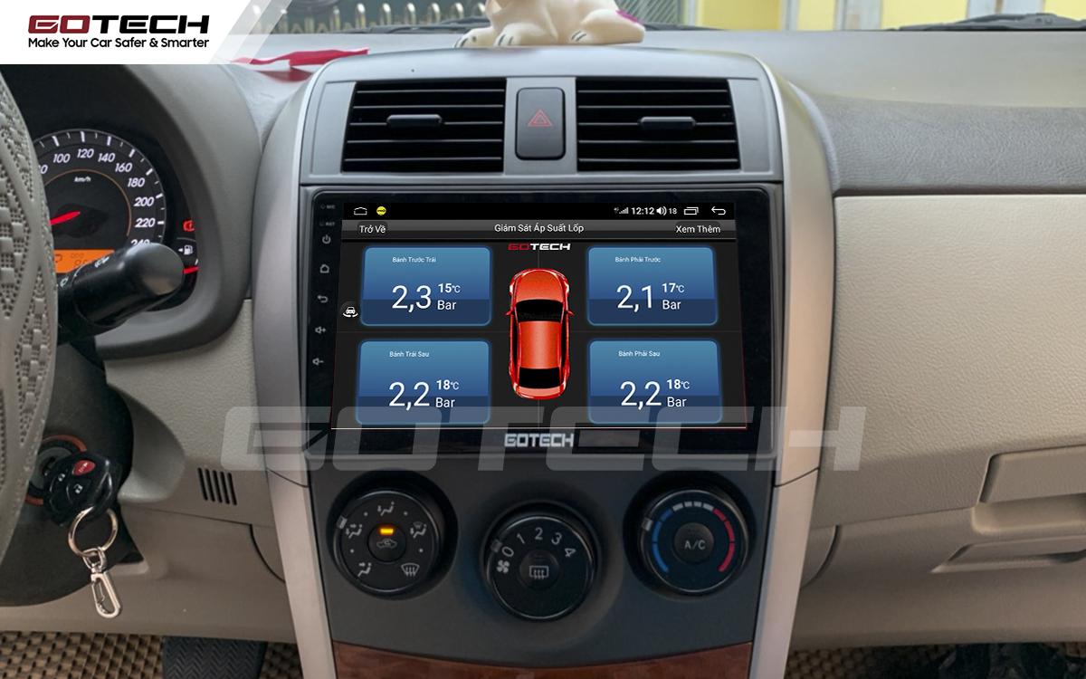 Tích hợp cảm biến áp suất lốp lên màn hình GOTECH cho xe Toyota Altis