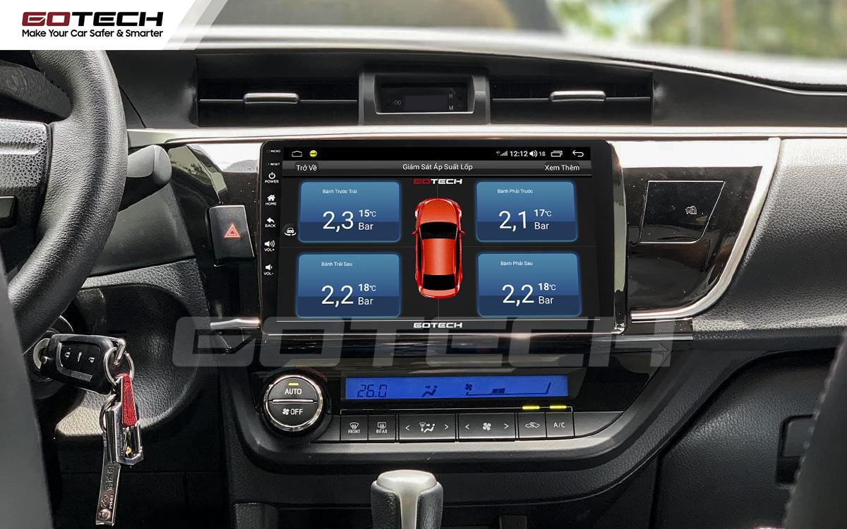 Tích hợp cảm biến áp suất lốp lên màn hình ô tô GOTECH cho xe Toyota Altis 2014 - 2017