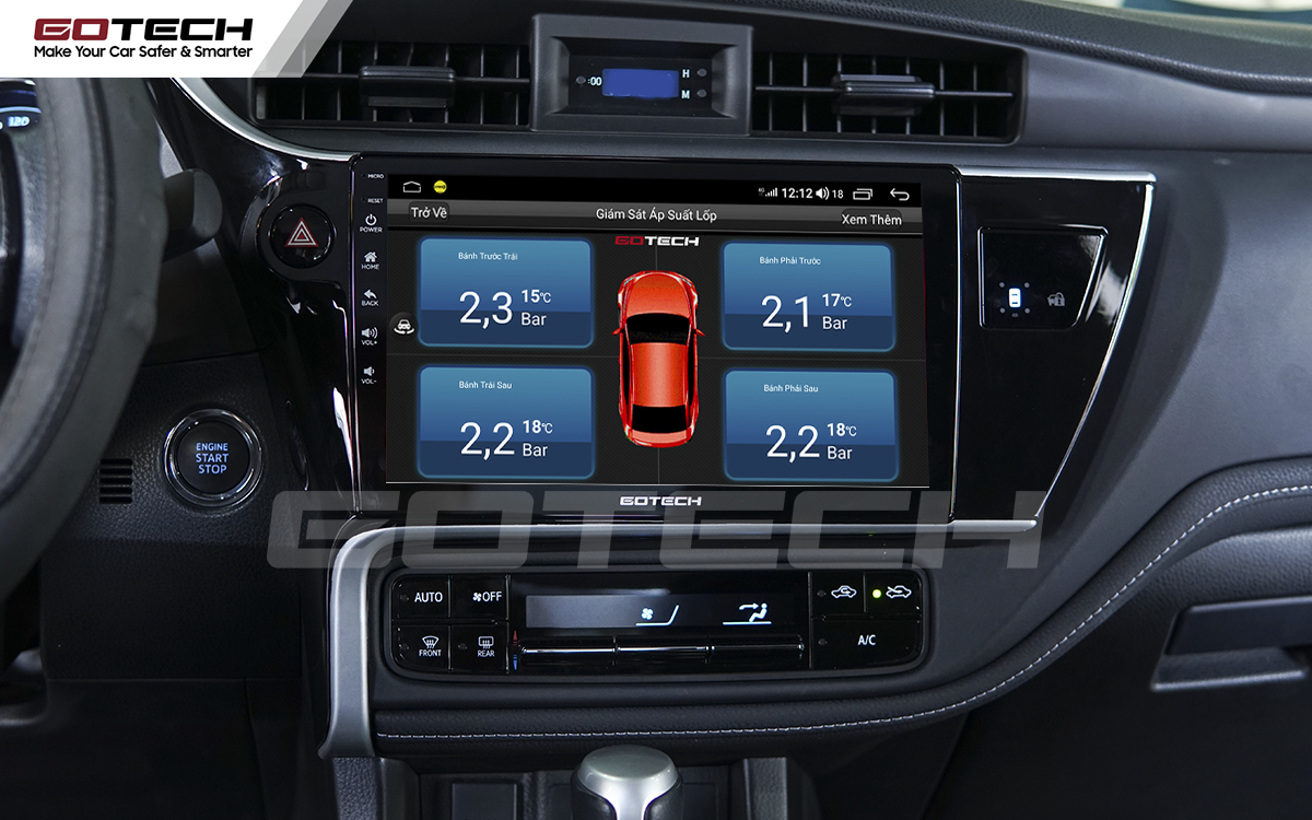 Tích hợp cảm biến áp suất lốp lên màn hình ô tô GOTECH cho xe Toyota Altis 2018 - 2019