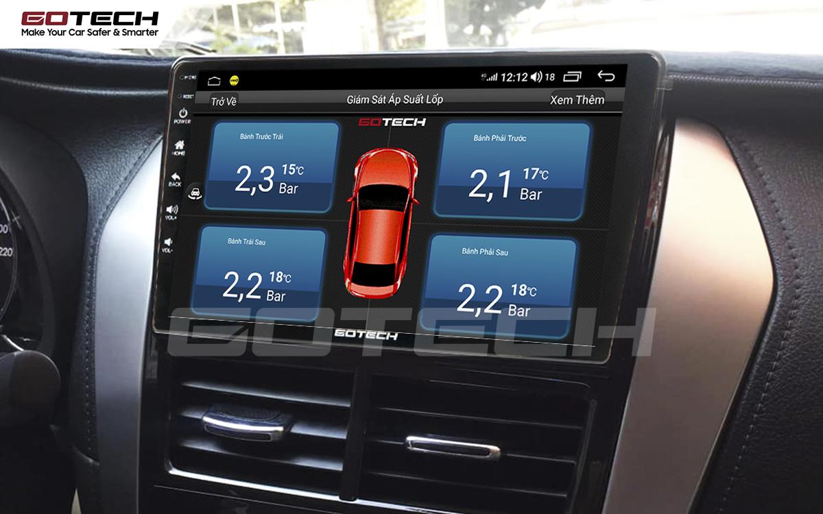 Tích hợp cảm biến áp suất lốp lên màn hình ô tô GOTECH cho xe Toyota Vios