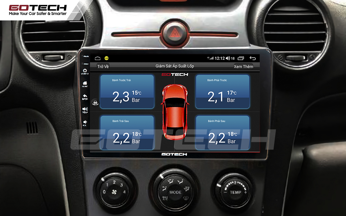Tích hợp cảm biến áp suất lốp trên màn hình ô tô thông minh GOTECH