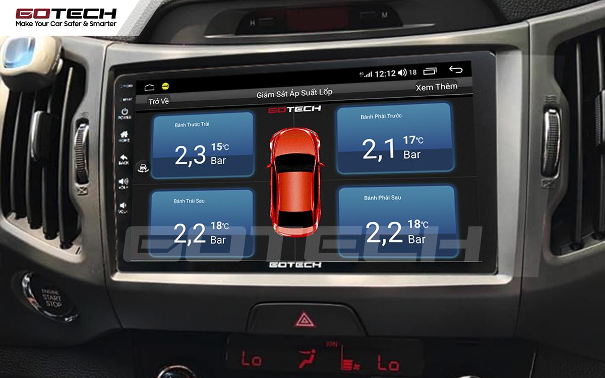 Tích hợp cảm biến áp suất lốp lên màn hình ô tô thông minh GOTECH cho xe Kia Sportage 2011 - 2014