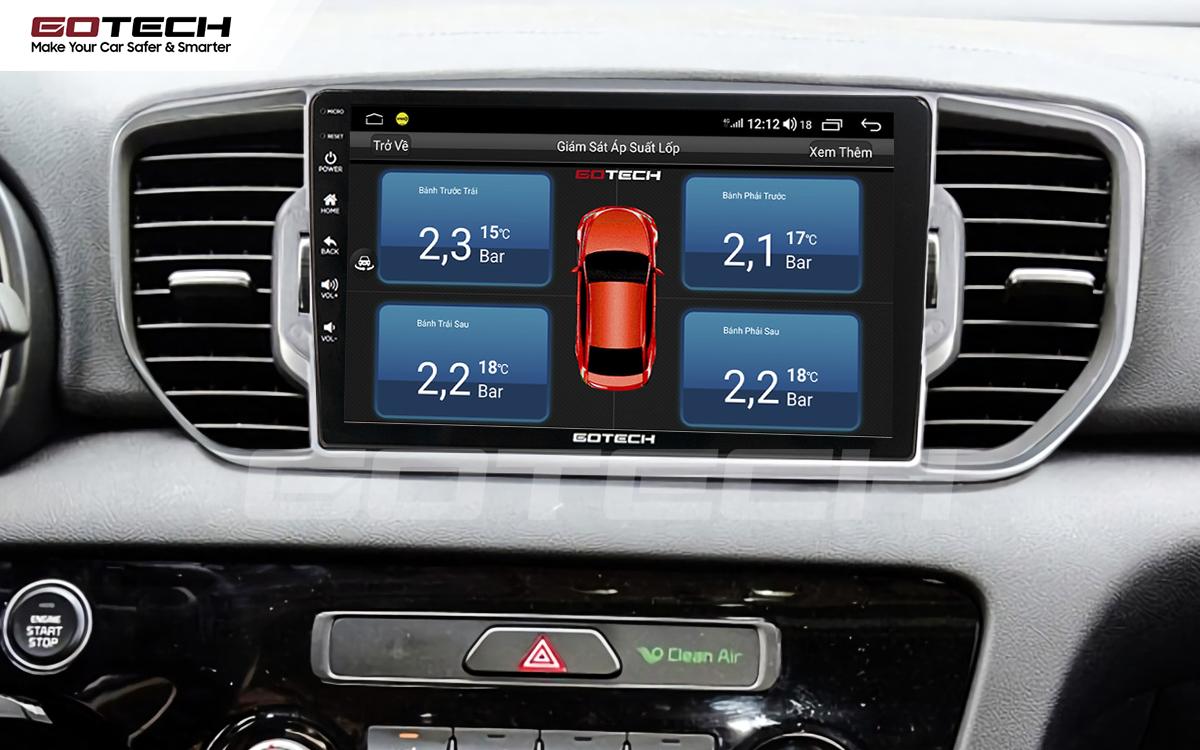 Tích hợp cảm biến áp suất lốp lên màn hình ô tô GOTECH cho xe Kia Sportage 2016 - 2018