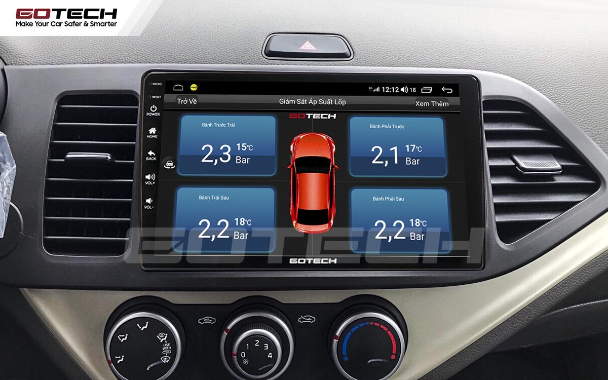 Tích hợp cảm biến áp suất lốp trực tiếp lên màn hình GOTECH cho xe Kia Morning