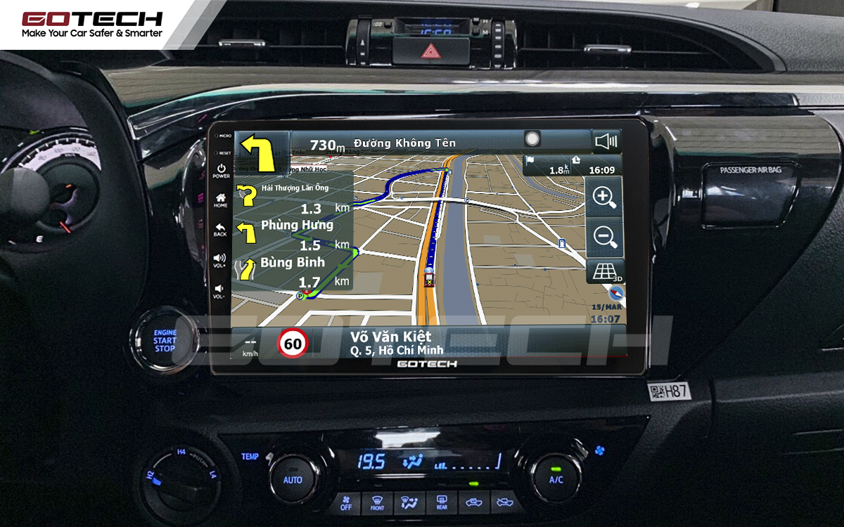 Tích hợp phần mềm dẫn đường Vietmap trên màn hình ô tô thông minh Gotech cho xe Toyota Hilux 2016-2019.