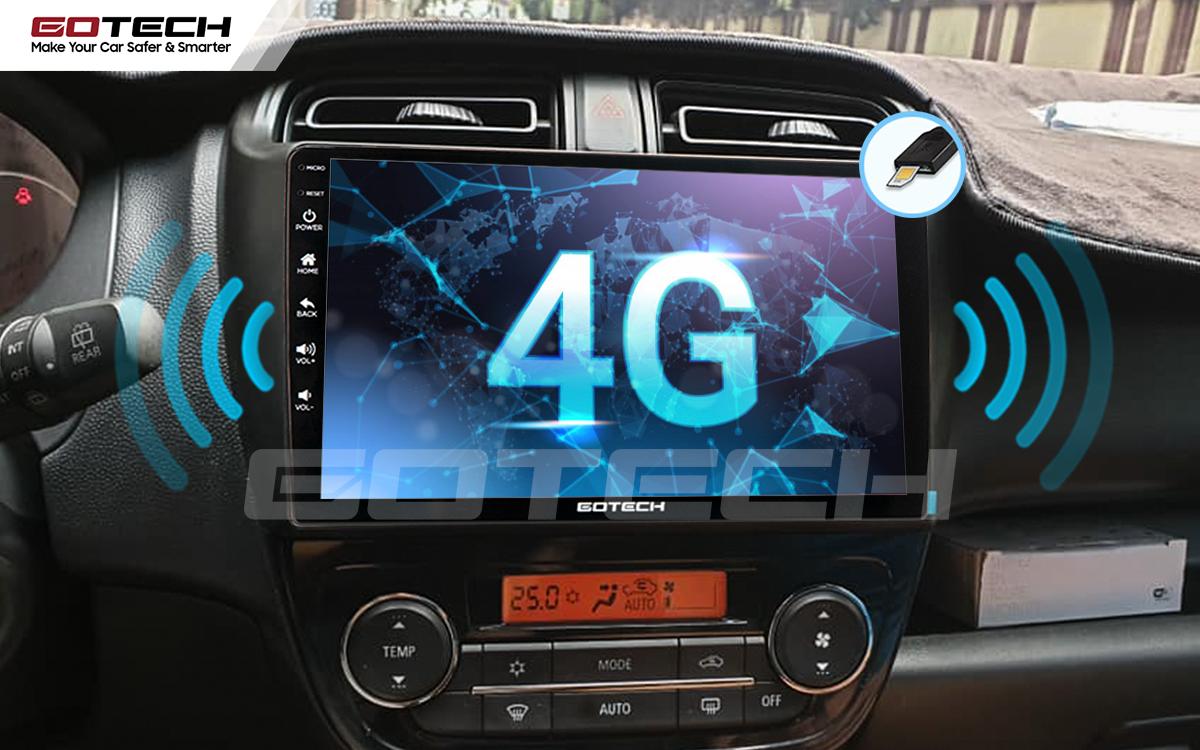 Tích hợp sim 4G kết nối tốc độ cao trên màn hình android Gotech cho xe Mitsubishi Mirage 2013-2019.