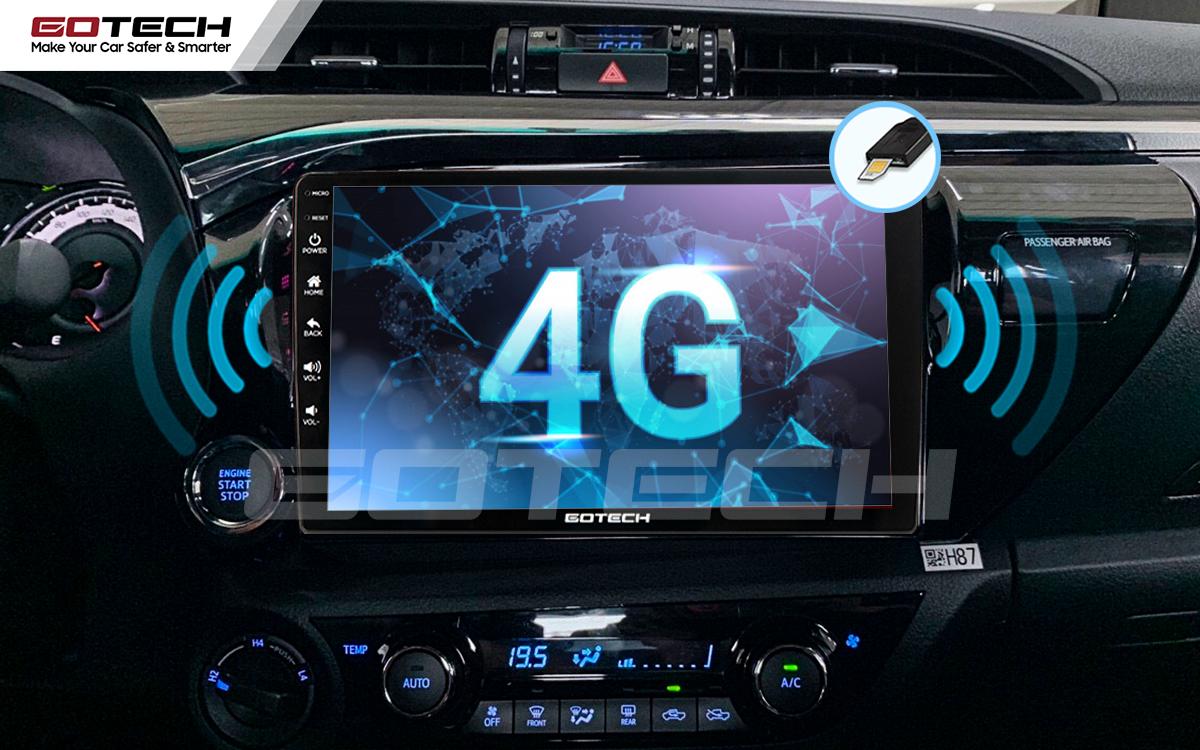 Tích hợp sim 4G kết nối internet tốc độ cao trên màn hình android Gotech cho xe Toyota Hilux 2016-2019.