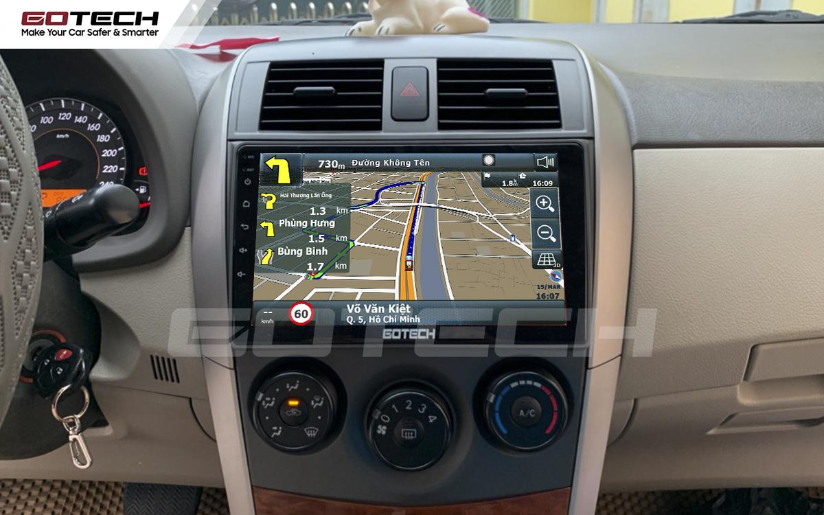 Các ứng dụng chỉ đường thông minh được tích hợp trên màn hình GOTECH cho xe Altis 2008 - 2013