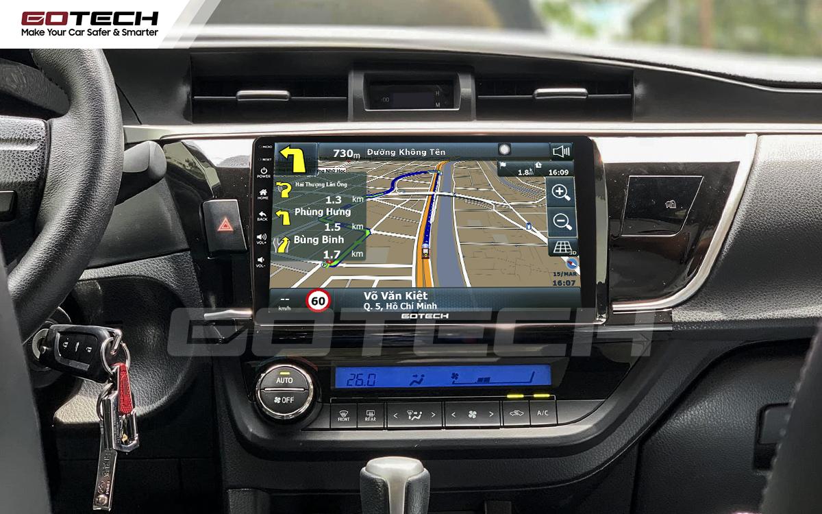 Ứng dụng chỉ đường thông minh trên màn hinh GOTECH cho xe Toyota Altis 2014 - 2017