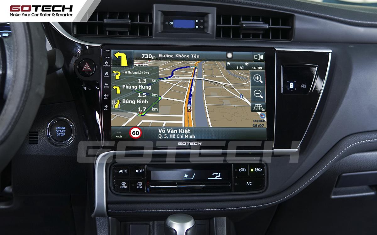 Ứng dụng chỉ đường thông minh trên màn hinh GOTECH cho xe Toyota Altis 2018 - 2019