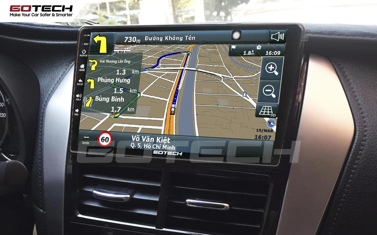 Ứng dụng chỉ đường thông minh, bản quyền trên màn hình GOTECH cho xe Toyota Vios E 2019 - 2020