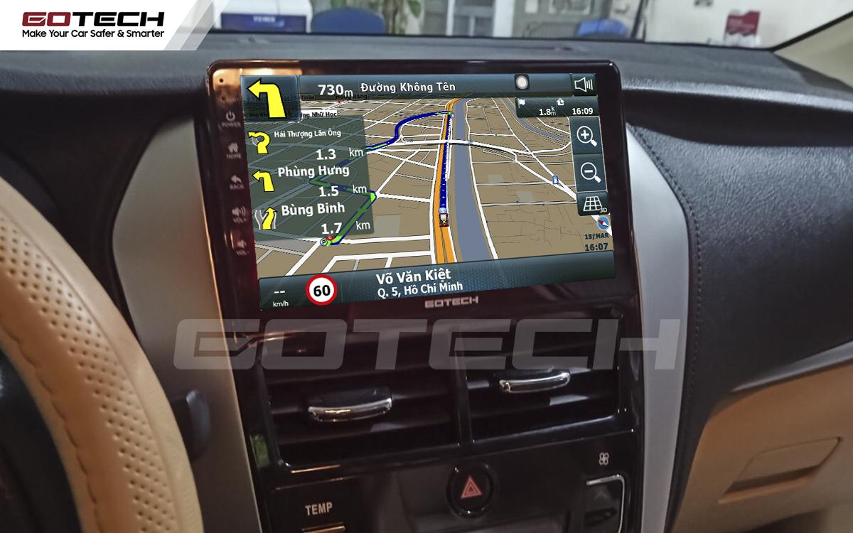 Màn hình GOTECH cho xe Vios G 2019 - 2020 tích hợp các ứng dụng chỉ đường thông minh
